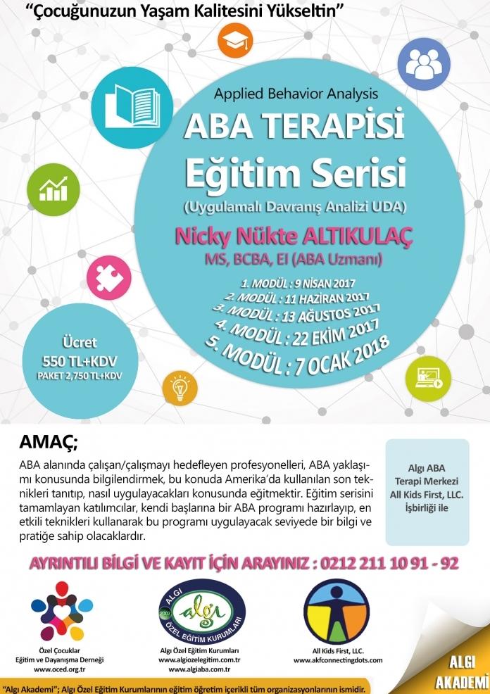 ABA (Applied Behavior Analysis) Terapisi Eğitim Serisi 2017 – 2018 Etkinlik Afişi