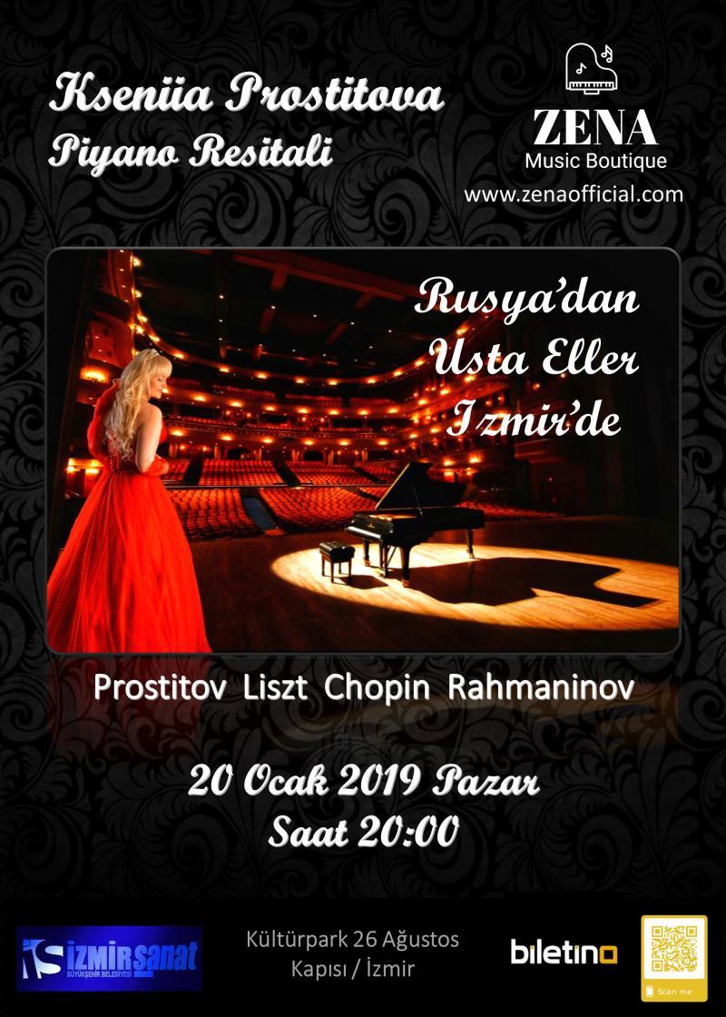 Rusya'dan Usta Eller Zena (Kseniia Prostitova) Piyano Resitali - İzmir Etkinlik Afişi