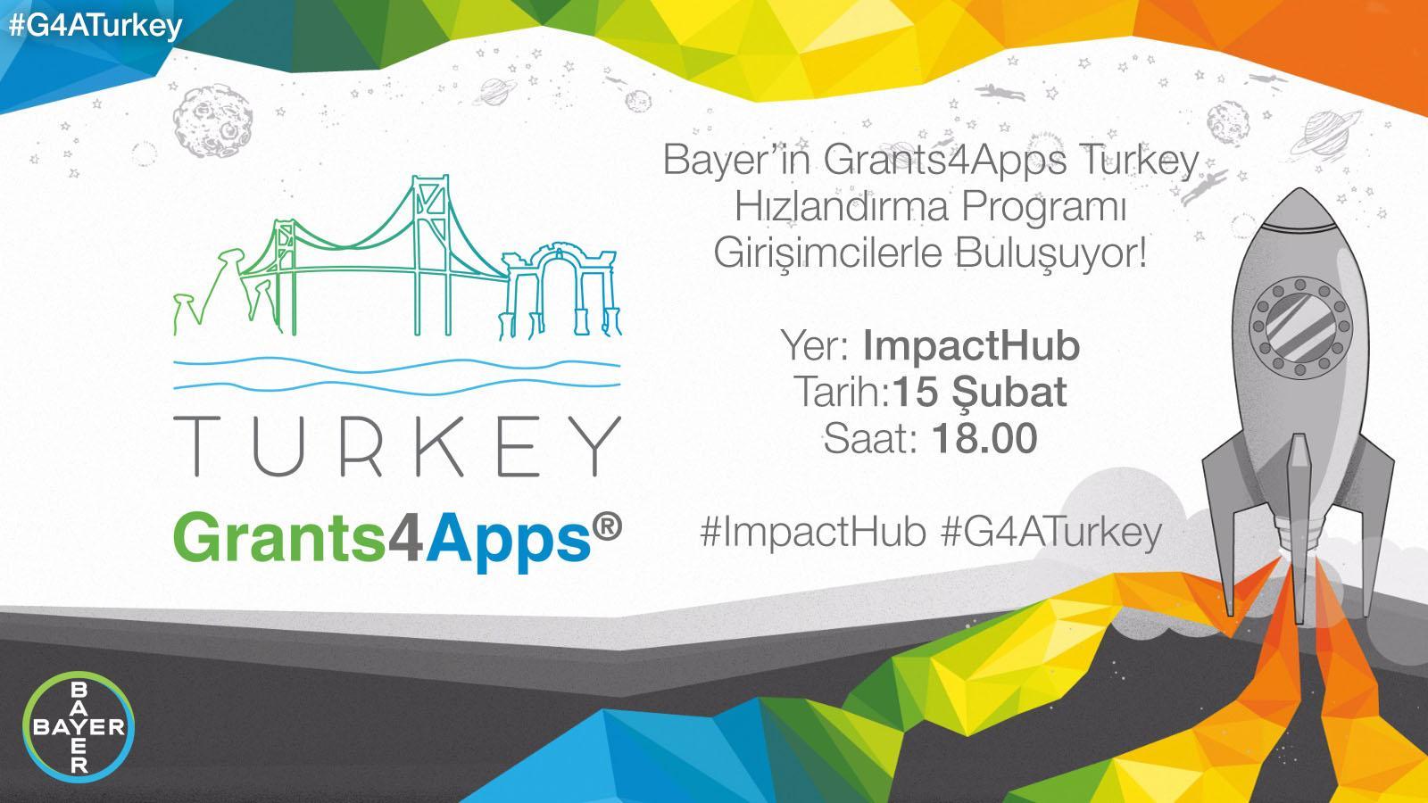 Impact Hub'da BAYER Grants4Apps Turkey Girişimcilerle Buluşuyor Etkinlik Afişi