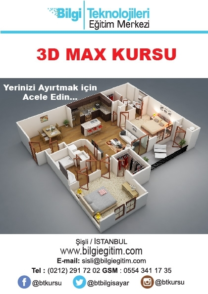 Proje Uygulamalı 3D Max Kursu Etkinlik Afişi