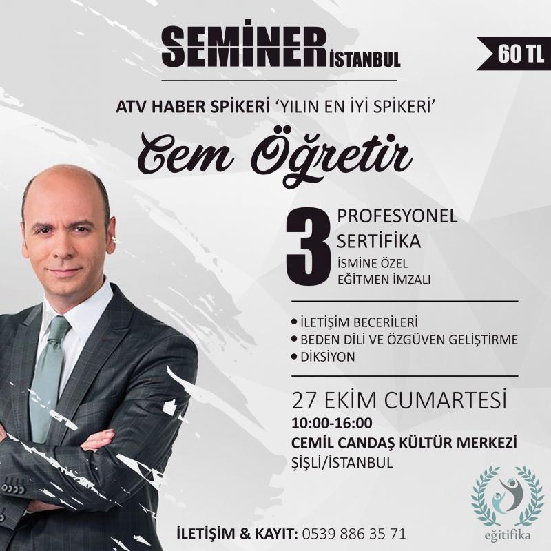 Cem Öğretir ile Seminer İstanbul Etkinlik Afişi